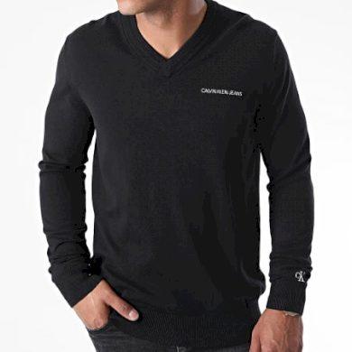 Calvin Klein pánský černý svetr ESSENTIAL V NECK SWEATER