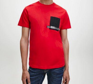 Calvin Klein pánské červené tričko ORGANIC COTTON POCKET T-SHIRT