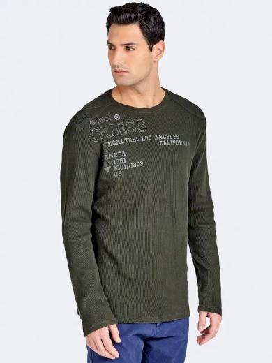 GUESS pánské tmavě zelené tričko s dlouhým rukávem