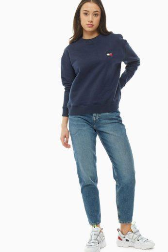 Tommy Jeans dámská modrá mikina TJW TOMMY BADGE CREW