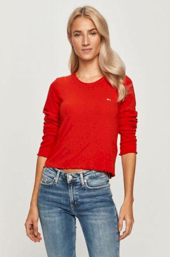 Tommy Jeans dámské červené tričko s dlouhým rukávem RIB-KNIT LONG SLEEVE