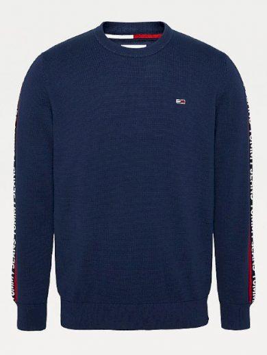 TOMMY JEANS pánský modrý svetr s dlouhým rukávem TJM SLEEVE TAPE SWEATER