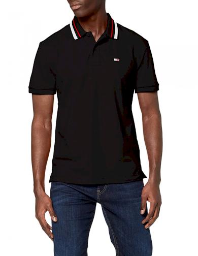 Tommy Jeans černé polo tričko TIPPED STRETCH POLO