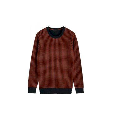 SCOTCH&SODA pánský hnědý pletený svetr