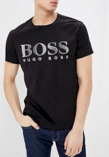 Hugo Boss pánské černé tričko UPF50+ s nápisem