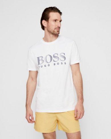 Hugo Boss pánské bílé tričko UPF50+ s nápisem