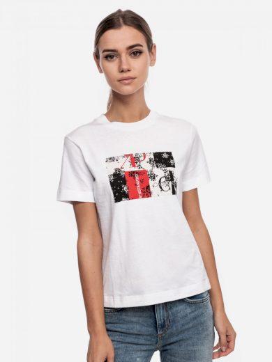 Calvin Klein dámské bílé tričko s potiskem MIXED PRINT TEE
