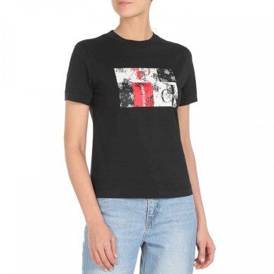 Calvin Klein dámské černé tričko s potiskem MIXED PRINT TEE