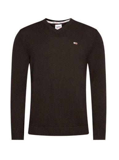 Tommy Jeans pánský černý svetr ESSENTIAL V-NECK SWEATER
