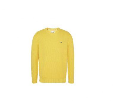 Tommy Jeans pánský žlutý svetr TJM ESSENTIAL WASHED SWEATER