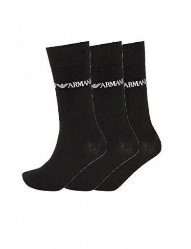 Emporio Armani pánské černé vyšší ponožky - 3ks