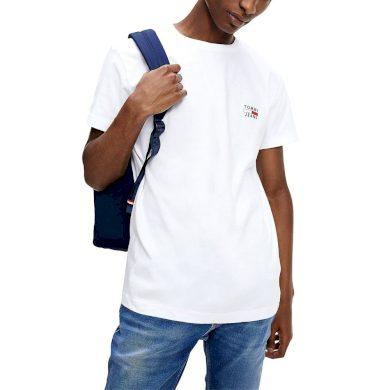 TOMMY JEANS pánské bílé tričko ORGANIC COTTON SLIM FIT T-SHIRT