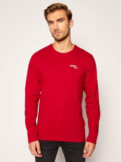 TOMMY JEANS pánské červené tričko s dlouhým rukávem SLIM FIT LONGSLEEVE T-SHIRT