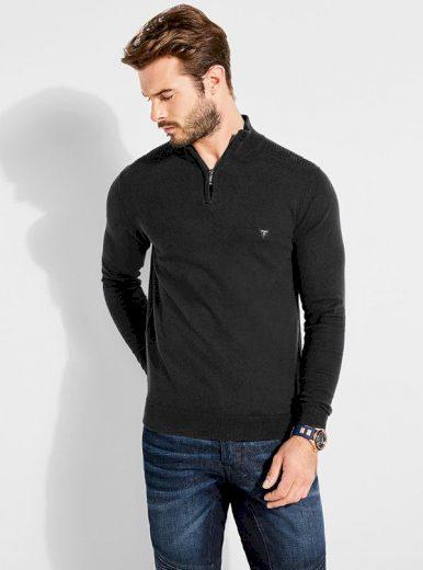 GUESS pánský černý svetr se zipem