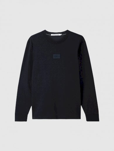 Calvin Klein pánské černé tričko s dlouhým rukávem CENTER BADGE LS TEE