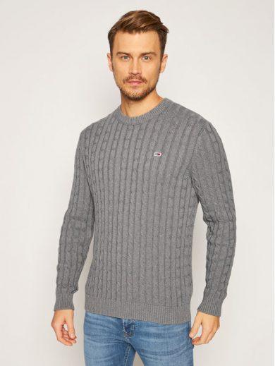 Tommy Jeans pánský šedý svetr TJM ESSENTIAL CABLE SWEATER