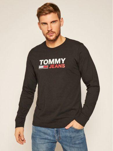 TOMMY JEANS pánské černé tričko s dlouhým rukávem SUSTAINABLE LOGO LONGSLEEVE T-SHIRT