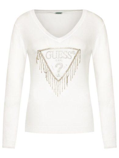 GUESS dámský bílý svetr s třásněmi