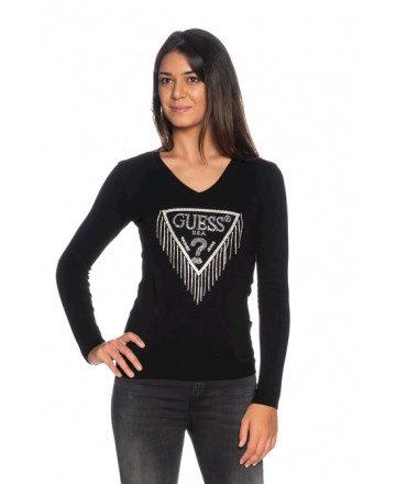 GUESS dámský černý svetr s třásněmi