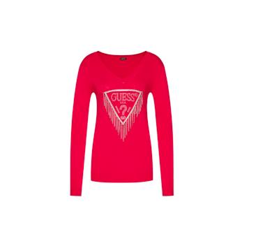 GUESS dámský červený svetr s třásněmi