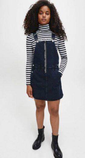 Calvin Klein dámské džínové šaty DUNGAREE DRESS ZIP