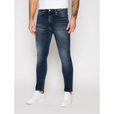 Calvin Klein pánské tmavě modré džíny LOGO WAISTBAND SKINNY JEANS