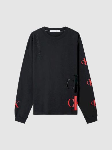 Calvin Klein pánské černé tričko s dlouhým rukávem CK ECO FASHION TEE