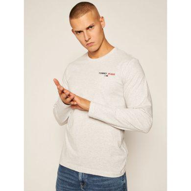 TOMMY JEANS pánské šedé tričko s dlouhým rukávem SLIM FIT LONGSLEEVE T-SHIRT