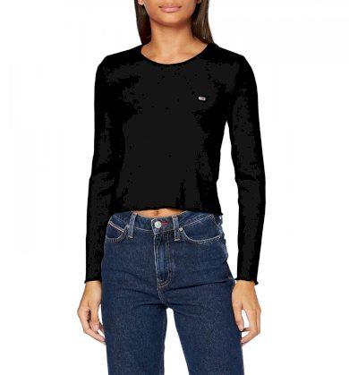 Tommy Jeans dámské černé triko s dlouhým rukávem RIB-KNIT LONG SLEEVE