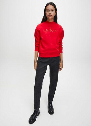 Calvin Klein dámská červená mikina CK ECO CN