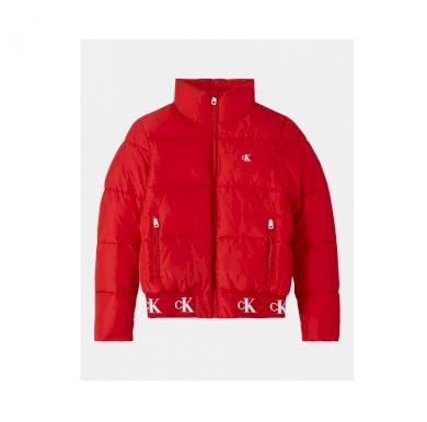 Dámská červená zimní bunda SUSTAINABILITY RECYCLED POLYESTER PUFFER JACKET