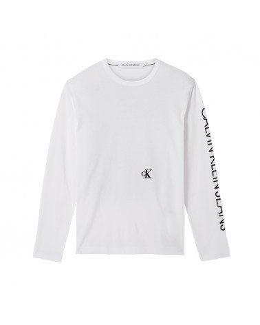 Calvin Klein pánské bílé tričko s dlouhým rukávem CAR PHOTOPRINT LS TEE