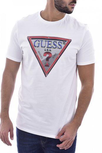 GUESS pánské bílé tričko s trojúhelníkem