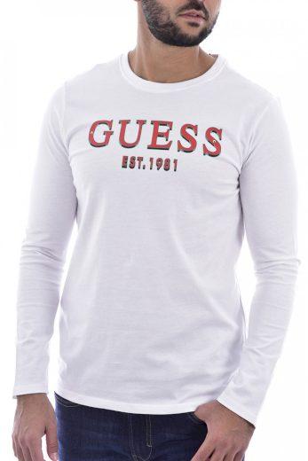 GUESS pánské bílé tričko s dlouhým rukávem