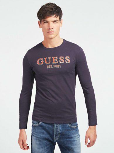 GUESS pánské tmavě modré tričko s dlouhým rukávem