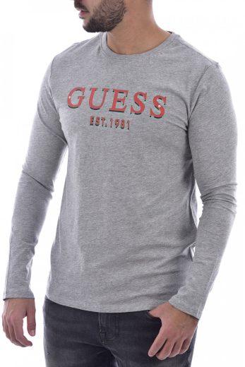 GUESS pánské šedé tričko s dlouhým rukávem
