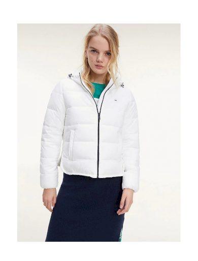 Tommy Hilfiger dámská bílá zimní krátká bunda TJW SIDE SLIT JACKET