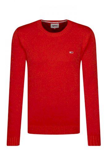 Tommy Jeans pánský červený svetr TJM ESSENTIAL CREW NECK SWEATER