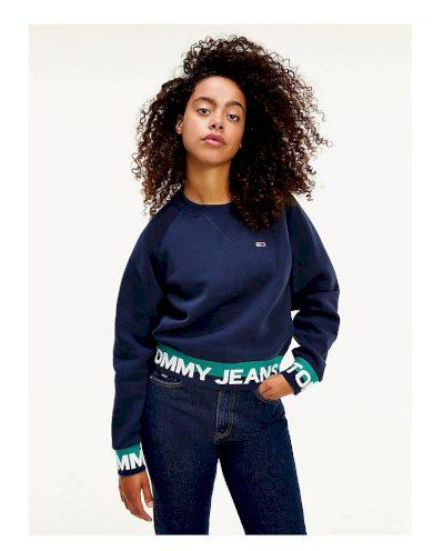 Tommy Jeans tmavě modrá krátká mikina TJW BRANDED HEM SWEATSHIRT