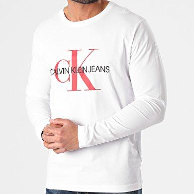 Calvin Klein pánské bílé tričko s dlouhým rukávem MONOGRAM LS TEE