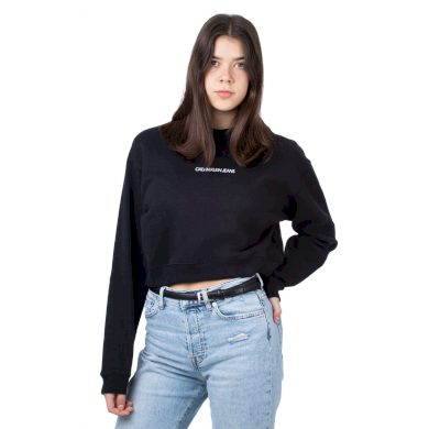 Calvin Klein dámská černá krátká mikina BACK MONOGRAM CROP BOYFRIEND