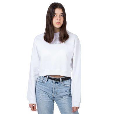 Calvin Klein dámská bílá krátká mikina BACK MONOGRAM CROP BOYFRIEND