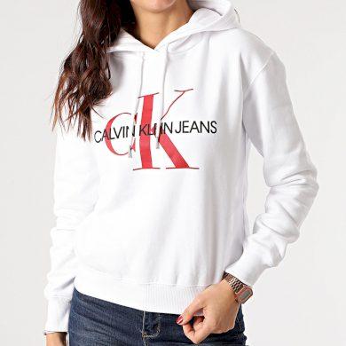 Calvin Klein dámská bílá mikina CROP MONOGRAM HOODIE