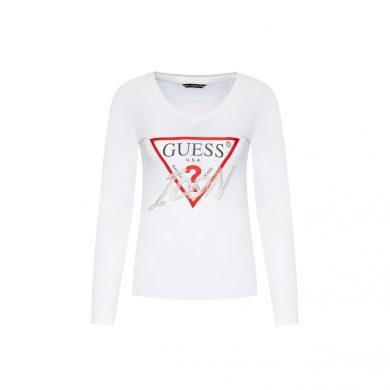 GUESS dámské bílé tričko s dlouhým rukávem LS VN ICON TEE