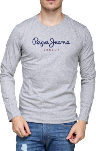 Pepe Jeans pánské světle šedé tričko s dlouhým rukávem EGGO LONG