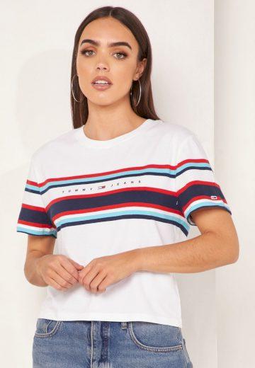 Tommy Jeans dámské bílé tričko TJW STRIPE LOGO TEE