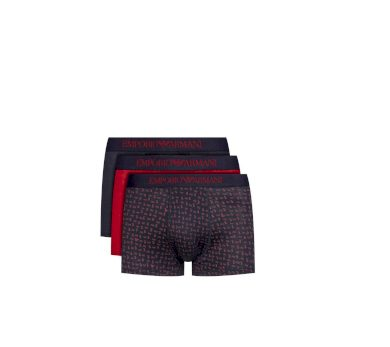 Emporio Armani pánské boxerky | 3 ks - červené, modré, vícebarevné