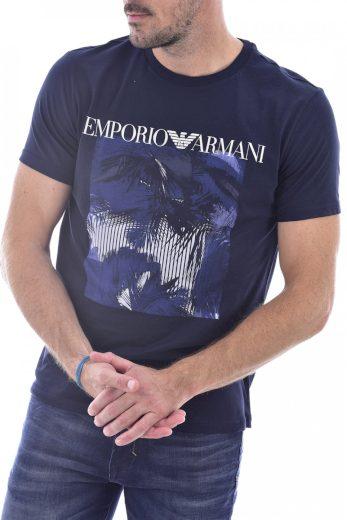 Emporio Armani pánské tmavě modré tričko s potiskem