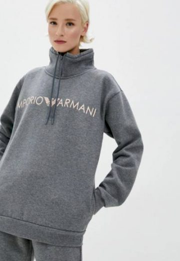 Emporio Armani dámská šedá mikina se stojáčkem