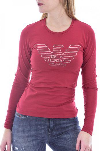 Emporio Armani dámské červené tričko s dlouhým rukávem